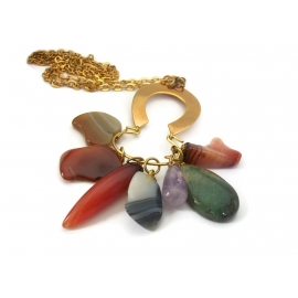 Vintage Semi Precious Polished Stones Pendant Necklace Long Gold 26 inch Chain