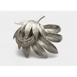 Vintage Signed Kramer Etched Silver Tone Brooch  Ornate Abstract Floral Leaves