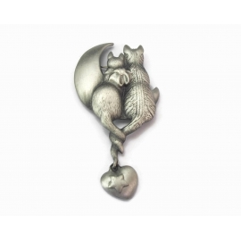 Vintage AJC Cattails Pewter Kitty Cat Brooch Two Cats in Love Moon Watching Pin