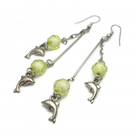 Vintage Long Dolphin Charm Dangle Earrings Silver Hooks Chartreuse Spring Green