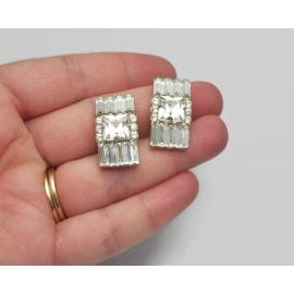 Vintage Clear Crystal Rhinestone Clip on Earrings Square Baguette and Round Cut