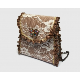 Vintage Small Wristlet Purse Brown with White Lace & Brown Ruffles Tiny Purse
