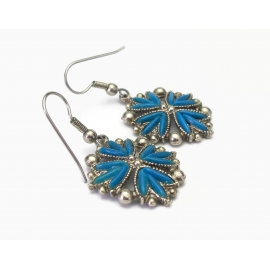 Vintage Silver Tone Faux Turquoise Dangle Earrings French Hook