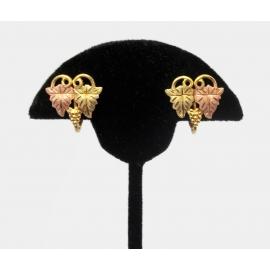 Vintage Black Hills Gold 10K and 1/20 12K Gold Filled Grape Leaf Clip Earrings