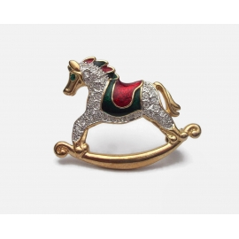 Enamel and rhinestone rocking horse brooch Christmas pin