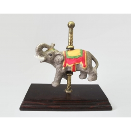 Vintage Hand Painted Porcelain Carousel Elephant with Brass Pole and Wood Base