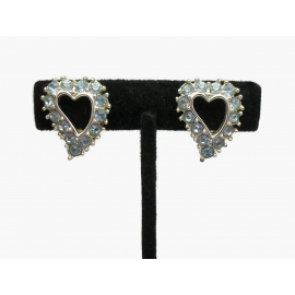 Vintage 1950s Sarah Coventry Heart Clip On Earrings Blue Rhinestones Silver Tone