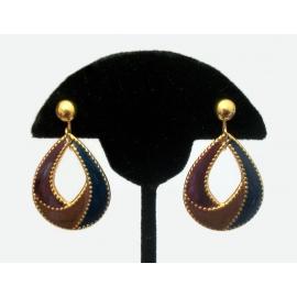 Vintage Enamel Teardrop Hoop Clip on Earrings Tear Drop Shaped Gold Purple Navy