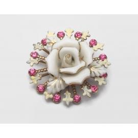 Vintage White and Gold Porcelain Rose Brooch with Fleur de Lis Pink Rhinestones