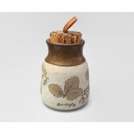 Vintage Wizard of Clay Bristoleaf Pottery Bud Vase Leaf Print Tan White Ceramic