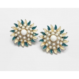 Vintage Milk Glass and Blue and Cream Enamel Floral Clip on Earrings Mid Century
