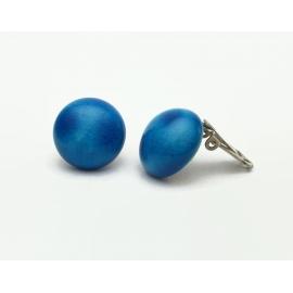 Vintage Blue Ceramic Clip on Earring 3/4 inch diameter domed button earrings