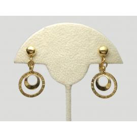Vintage Gold Tone Hoop Dangle Clip on Earrings Double Gold Rings Drop Earrings