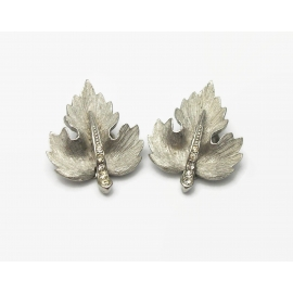 Vintage Silver Tone Leaf Clip on Earrings with Clear Rhinestones Faux Marcasites