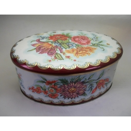 Vintage Daher Oval Tin Made in England 6 inch Long Floral Tin White Red Orange