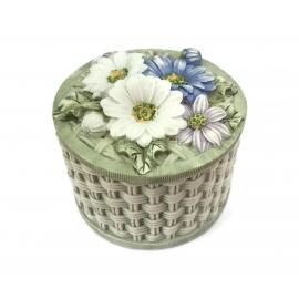 Vintage Flower Basket Trinket Box  Round Resin Floral Keepsake Box with Lid