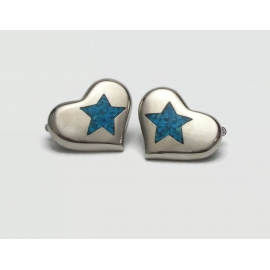 Vintage Trifari Silver Tone Heart Shaped Turquoise Star Inlay Clip on Earrings