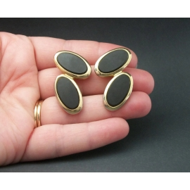 Vintage Black Onyx or Glass and Gold Tone Clip on Earrings Double Oval Geometric