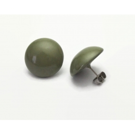 Vintage Olive Green Button Earrings Round Domed Army Green Post Earrings