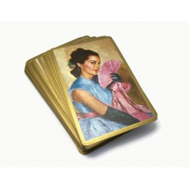 Vintage Congress Spanish Lady Woman with Lace Fan Playing Cards Gold Edge