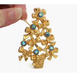 Vintage 1990s Avon Christmas Tree Brooch Gold with Blue AB Rhinestone Accents