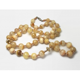 Vintage Tan and Cream Glass Bead Necklace 30 inches Long Beaded Necklace