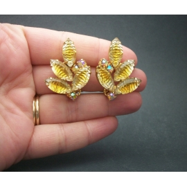 Vintage Crystal Leaves Clip on Earrings Two Tone Golden Yellow & Clear Crystal