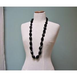 Vintage Chunky Black Nut Necklace Tagua Almond Nuts on Black Ribbon 38 inch