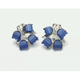 Vintage Blue Thermoset Floral Clip on Earrings Blue and Silver Flowers