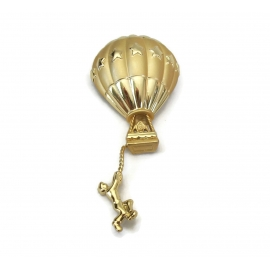 Vintage Signed AJC Hot Air Balloon Brooch Gold Tone Funny Whimsical