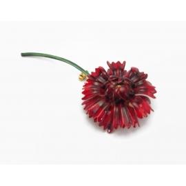 Vintage 1960s signed Sandor Red Enamel Flower Brooch or Lapel Pin