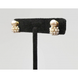Vintage Dainty Pearl Clip on Earrings Small Tiny Faux Pearl Cluster Earrings