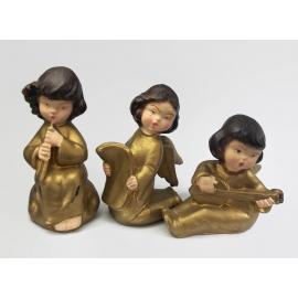 Mid Century Vintage Set Gold Plastic Angel Figurines Made in Italy Cherubs