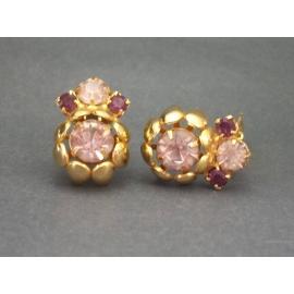 Vintage Faux Amethyst Crystals Gold Tone Clip on Earrings Purple Rhinestone