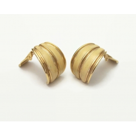 Vintage Weekenders Gold and Cream Beige Enamel Clip on Earrings