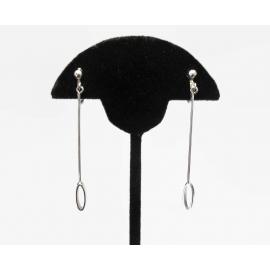 Minimalist Long Silver Pendulum Dangle Drop Clip on Earrings