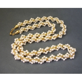 Vintage Pearl Cluster Twist Gold Tone Rope Necklace 24 inch Long Dainty