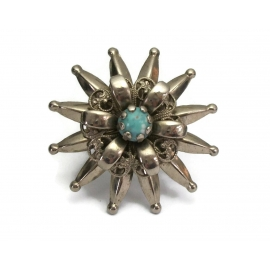 Vintage Silver Tone Filigree Starburst Brooch with Faux Turquoise Stone