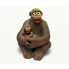 Vintage Clay Pottery Chimpanzee and Baby Sculpture Chimp Figurine Mother & Child