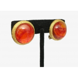 Vintage Orange Swirl Cabochon Gold Tone Clip on Earrings  Fiery Lucite Cabochon