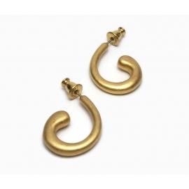 Vintage Monet Curly Gold Hoop Earrings