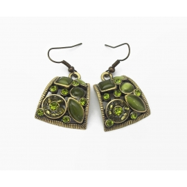 Vintage Brass Gold Tone and Olive Green Moonglow & Rhinestone Dangle Earrings