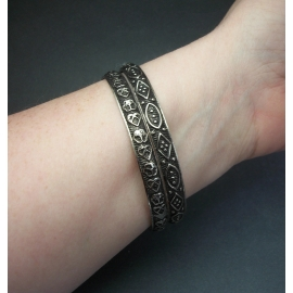 Vintage Set of Two Silver Tone and Black Bangle Bracelets Made in India