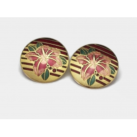 Vintage Cloisonne Lily Earrings Big Round Gold Deep Red Salmon Pink Enamel