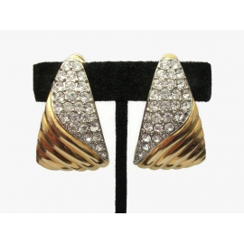 Vintage Les Bernard Big Gold Tone and Pave Clear Crystals Clip on Earrings