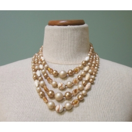 Vintage 1950s Four Strand Glass & Plastic Bead Necklace Pale Beige Gold