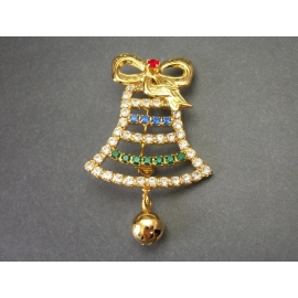 Vintage Rhinestone Jingle Bell Christmas Brooch Gold Tone Lapel Pin Unisex