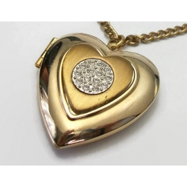 Vintage Heart Shaped Locket Pendant Necklace Gold Tone Silver Tone Mixed Metals