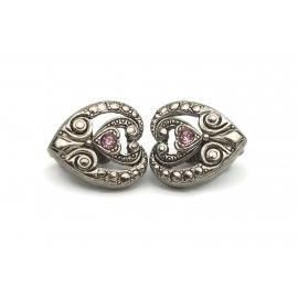 Vintage Avon Silver Faux Marcasite Heart Clip Earrings Purple Rhinestone