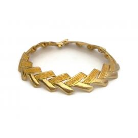 Vintage Gold Tone Chevron Bracelet Gold Chevron Pattern 7 1/4 inch for Women